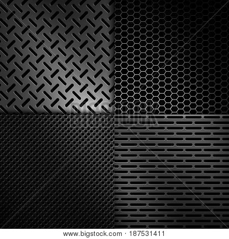 Four types of abstract modern grey perforated metal plate textures for background graphic design