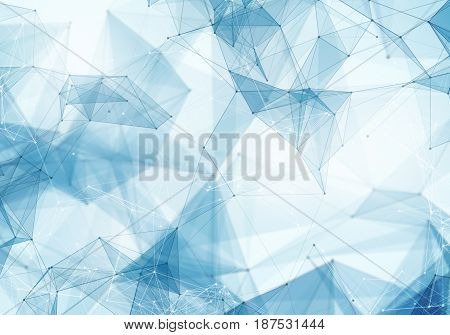 Abstract polygonal light blue space low poly background. Connecting dots and lines in triangles structure. Illustration for branding science graphic design. Crystal cell network