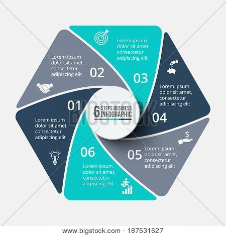 Vector hexagon infographic. Template for cycle diagram, graph, presentation and chart. Business concept with 6 options, parts, steps or processes. Data visualization.
