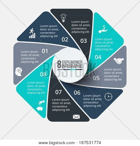 Vector octagon infographic. Template for cycle diagram, graph, presentation and chart. Business concept with 8 options, parts, steps or processes. Data visualization.