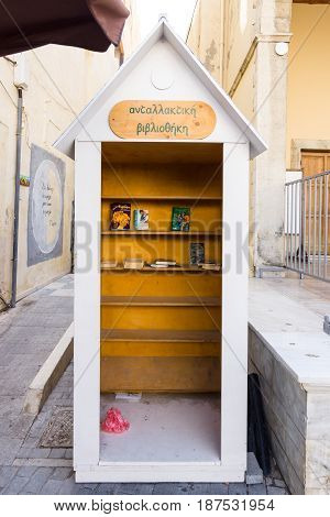 HERAKLION GREECE - JULY 16 2016: Bookcrossing in the historic center of the city.