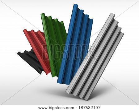 Corrugated sheet metal profiles in various colors, 3d illustration