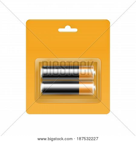 Vector Black Golden Glossy Alkaline AA Batteries in Yellow Blister Packed for branding Close up Isolated on White Background