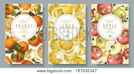 Vector fruit vertical banners set. Orange, lemon and apple design for sweets and pastries filled with citrus fruit, dessert menu, natural cosmetics, health care products. With place for text