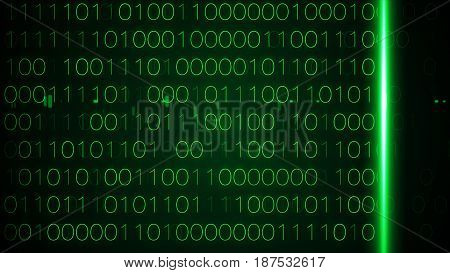 Digital Binary Data Scan Background Green Interface