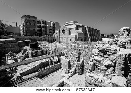 HERAKLION GREECE - JULY 16 2016: The church of Saint Peter of the Dominicans. The Orthodox Church. Built in the 13th century restored in 2010. Black and white.