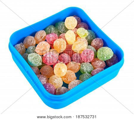 Montpensier. Hard candies in a box isolated on a white background