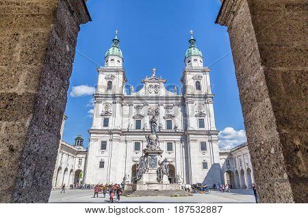 Salzburg Cathedral With Domplatz Town Square  In Summer, Salzburg, Austria