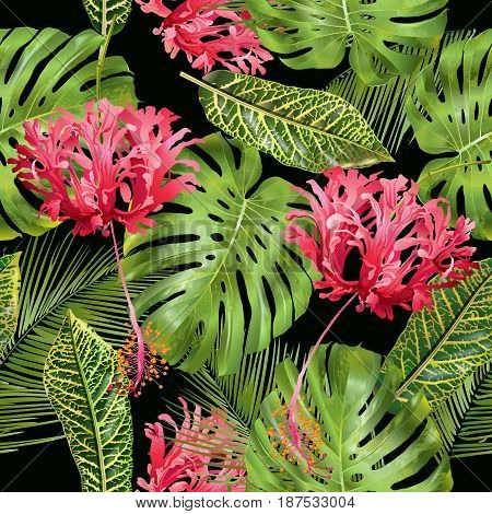 Vector botanical seamless pattern with tropical leaves and red exotic flowers on black background. Design for cosmetics, spa, health care products, perfume. Can be used as wedding, summer background