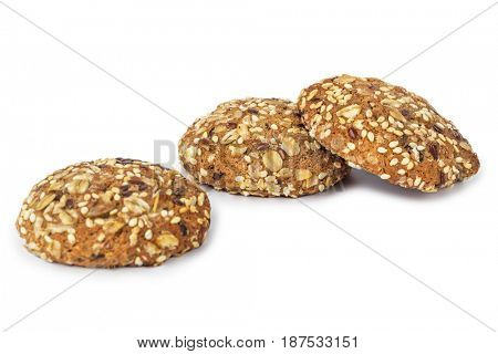 Oat cookies isolated on white background
