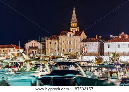 Port in Budva Montenegro - architecture travel background