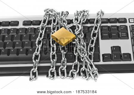 Computer keyboard and chains isolated on white background