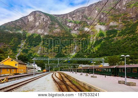 Train in Flam - Norway - nature and travel background