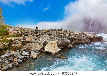 Stigfossen waterfall in Norway - nature and travel background