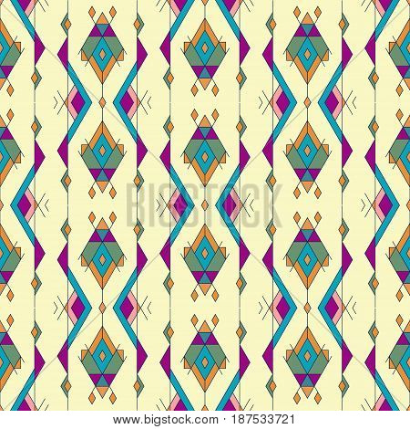 Tribal Vintage Ethnic Seamless Pattern. Aztec, Mexican, Navajo, African Motif.