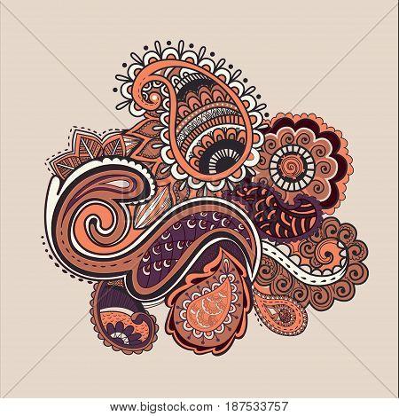 Bright Abstract wallpaper vintage flower pattern illustration violet palette