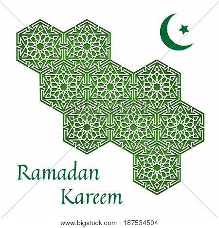Ramadan Kareem. Abstract white background with geometric pattern with crescent moon and star