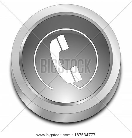 silver Phone call Button - 3D illustration