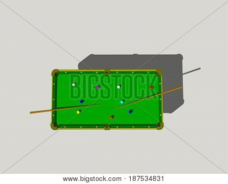 Billiard table. Isolated on grey background. 3D rendering illustration. Top view.