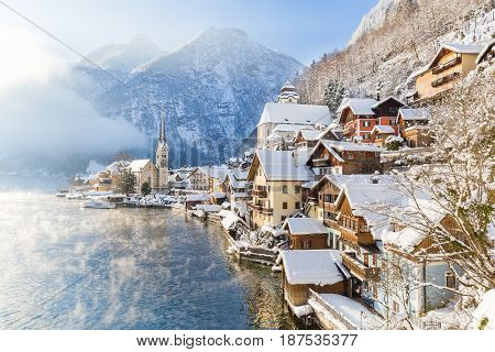 Classic View Of Hallstatt With Ship In Winter, Salzkammergut, Austria