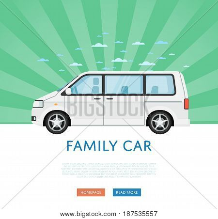 Website design with family minivan. Comfortable minibus on green striped background, modern auto vehicle banner. Auto business, sale or rent transport online service vector illustration concept.