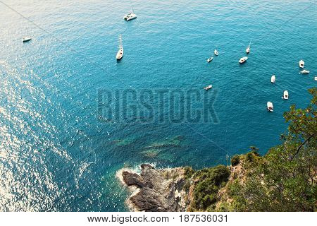 White Yachts Sailing In The Mediterranean Sea