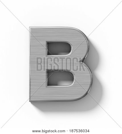 Letter B 3D Metal Isolated On White With Shadow - Orthogonal Projection