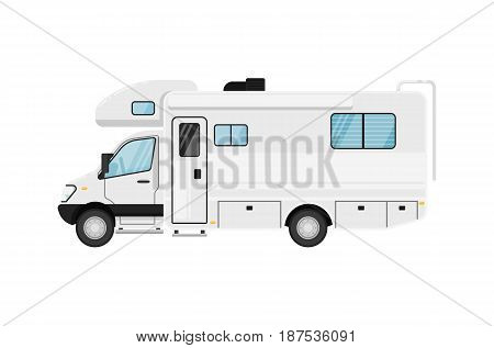 Modern camper van isolated vector illustration on white background. Comfortable minibus, family trailer, auto vehicle, people city transport in flat design