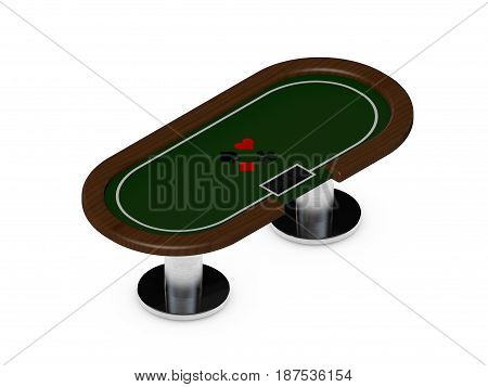 Poker table.Isolated on white background.3D rendering illustration.Isometric view.