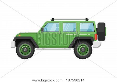 Extreme travel car isolated vector illustration on white background. Off road 4x4 auto vehicle, suv car, people city transport in flat design