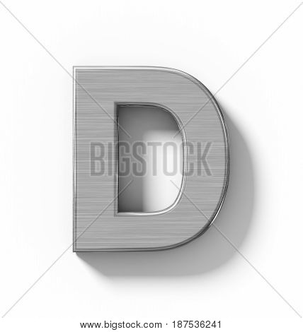 Letter D 3D Metal Isolated On White With Shadow - Orthogonal Projection
