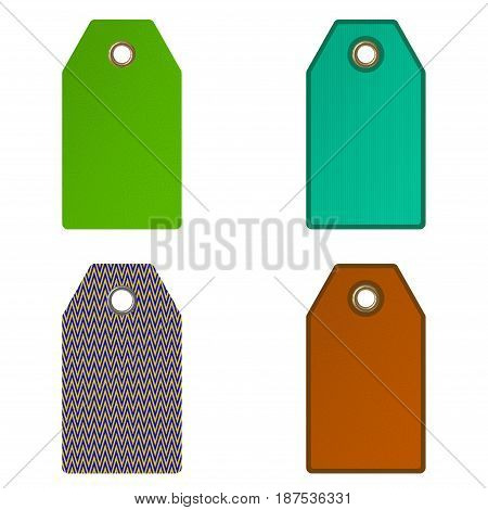 Empty price tags. Isolated on white background.3D rendering illustration.