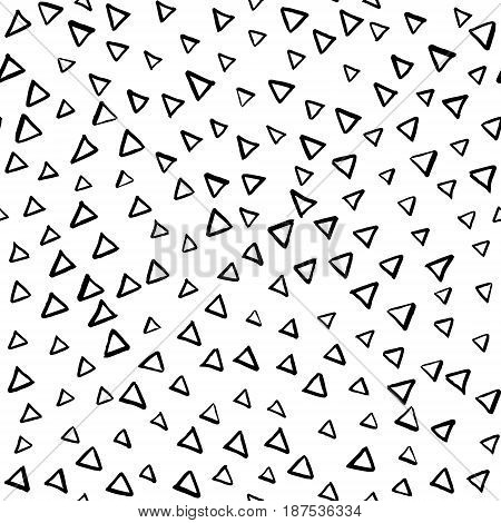 Artistic hand drawn seamless ink pattern. Repeatable doodle triangle sketch design for print, textile, wrapping paper, invitation card background, fashion fabric. Black and white brush strokes.