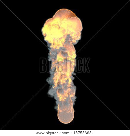 Realistic fiery explosion.Isolated on black background.3D rendering illustration.