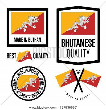 Bhutan quality isolated label set for goods. Exporting stamp with bhutanese flag, nation manufacturer certificate element, country product vector emblem. Made in Bhutan badge collection.