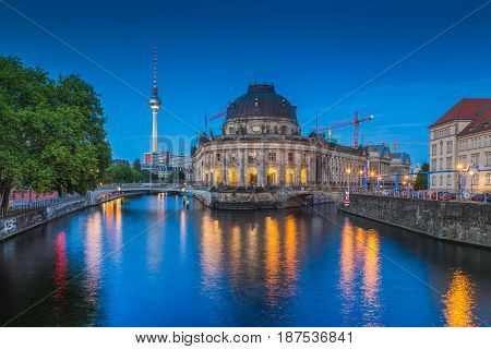 Berlin Museum Island With Tv Tower In Twilight, Berlin, Germany