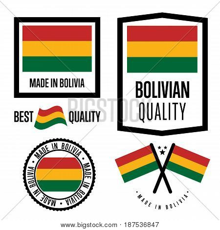 Bolivia quality isolated label set for goods. Exporting stamp with bolivian flag, nation manufacturer certificate element, country product vector emblem. Made in Bolivia badge collection.
