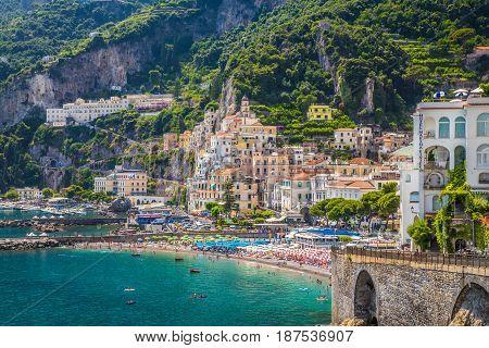 Postcard View Of Amalfi, Amalfi Coast, Campania, Italy