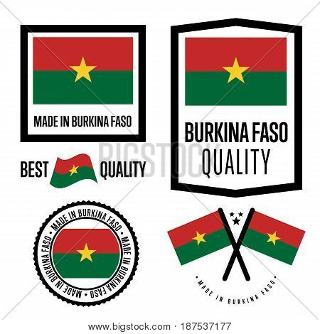 Burkina Faso quality isolated label set for goods. Exporting stamp with nation flag, manufacturer certificate element, country product vector emblem. Made in Burkina Faso badge collection.