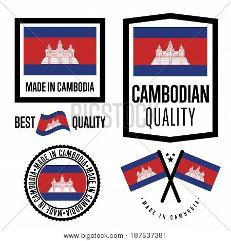 Cambodia quality isolated label set for goods. Exporting stamp with cambodian flag, nation manufacturer certificate element, country product vector emblem. Made in Cambodia badge collection.