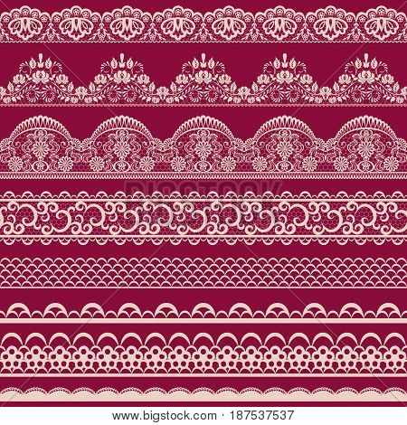 Horizontally seamless floral lace pattern on red background