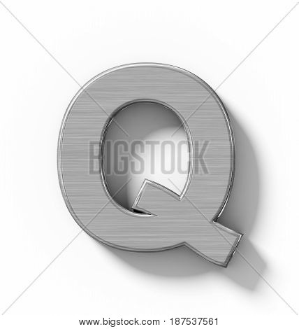 Letter Q 3D Metal Isolated On White With Shadow - Orthogonal Projection