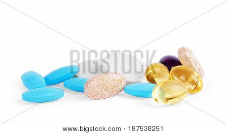 Colorful pills isolated on white background Supplements, Supplement, Dragee, Digestion, Pillen, Apteka, Pastiglia, Suplementos