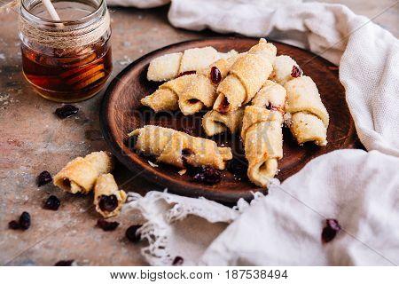 Sweet Fresh homemade baking on background close up