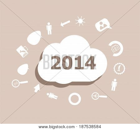 Text 2014. Time Concept . Icons Set For Cloud Computing For Web And App