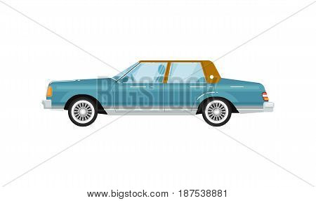 Classic retro sedan isolated vector illustration on white background. Vintage old school family auto vehicle, people city transport in flat design