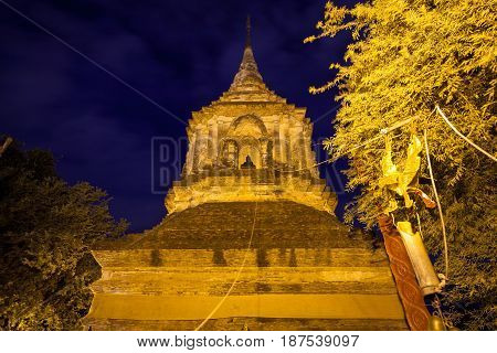 Large chedi at the Wat Lok Molee one of the oldest temples in Chiang Mai Thailand