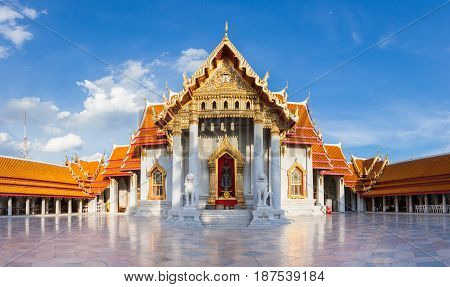 BANGKOK THAILAND - SEPTEMBER 10: panorama of Wat Benchamabophit also known as Marble Temple at sunset on Septemper 10 2016 in Bangkok Thailand.