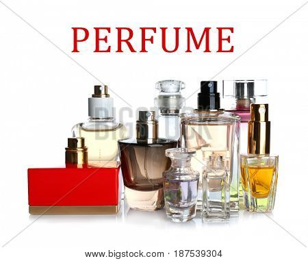 Bottles of perfume and text on white background