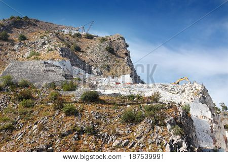 Open Quarry With White Marble Excavation
